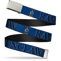 Blank Chrome Bo Buckle Harry Potter Ravenclaw & Crest Blue Black Web Belt