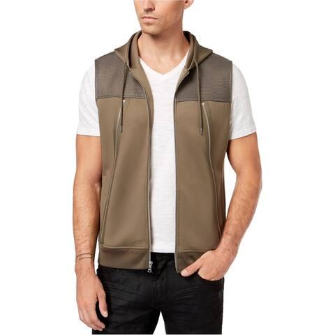 I-N-C Mens Zippy Vest Hoodie Sweatshirt, Beige, Large