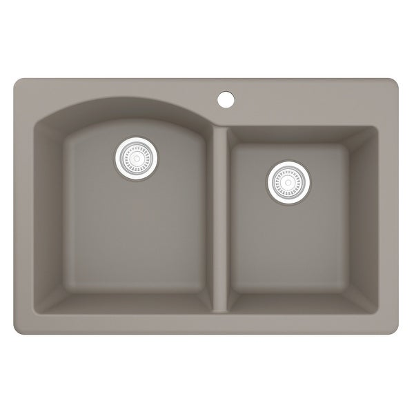 """Top Mount 33-inch Large/Small Bowl Quartz Kitchen Sink - 33"""" x 22"""" x 9"""". Opens flyout."""