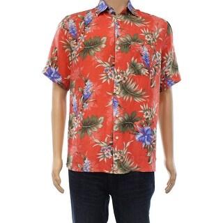 Tasso Elba NEW Red Mens Size Small S Floral Printed Hawaiian Silk Shirt