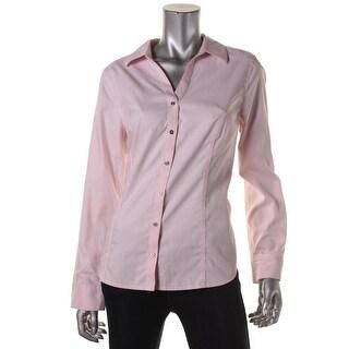 Calvin Klein Womens Cotton Long Sleeves Button-Down Top