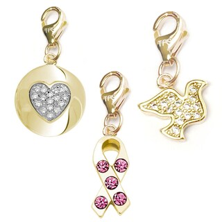 Julieta Jewelry Pink CZ Awareness Ribbon, Heart CZ Heart Disc, Dove 14k Gold Over Sterling Silver Clip-On Charm Set