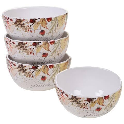 "4pc White and Orange Pumpkin Harvest Thanksgiving Ice Cream Bowl Set 6"""