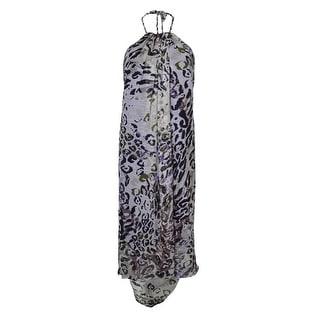 Marc New York Women's Animal Print Belted Halter Crepe Hi-Lo Dress - Violet