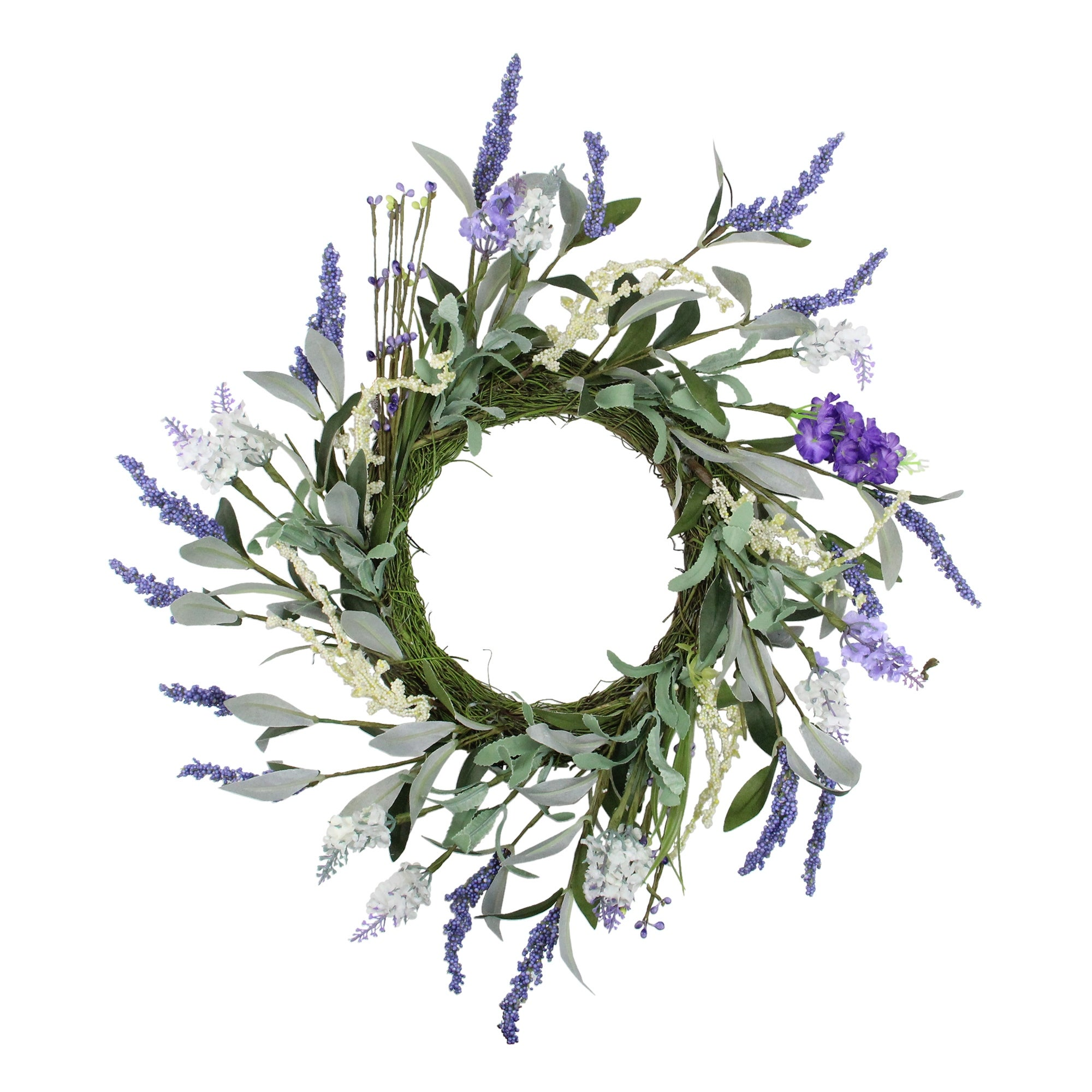 Lavender Flower Artificial Spring Wreath, Purple and Green 16-Inch - N/A