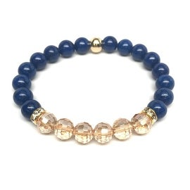 Blue Jade & Champagne Crystal 'Glow' stretch bracelet 14k Over Sterling Silver