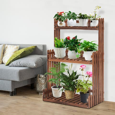 Kinsunny Wooden Plant Stand Multi Layer Flower Stand Indoor & Outdoor Plant Display Rack 100% Pine Wood ( with A Pair of Glove)