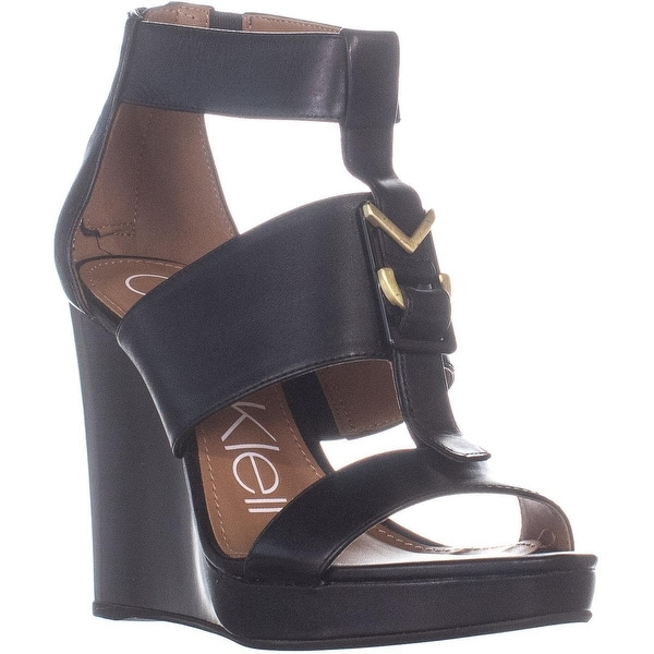e95c0dfebf Shop Calvin Klein Racquel Wedge Sandals, Black - 6 US / 36 EU - Free ...