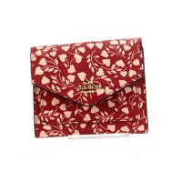 Coach Red Gold Boxed Small Love With Leaf Trifold Leather Wallet