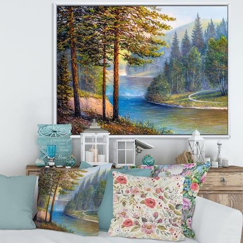 Designart 'Morning Sunlight Through The Pine & Fir Forest' Lake House Framed Canvas Wall Art Print