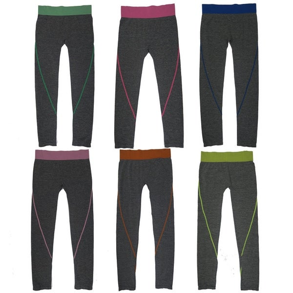 Women's 6 Pack Seamless Heather Base Contrast Color Band Athletic Sports Full Length Leggings