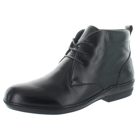 David Tate Womens Bank Ankle Boots Leather Low Heel