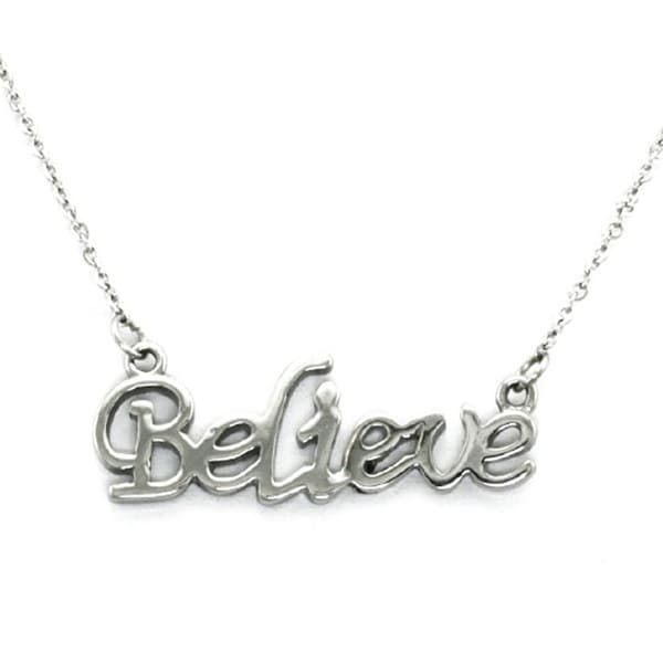 Stainless Steel Inspirational - BELIEVE - Necklace - 16 inches