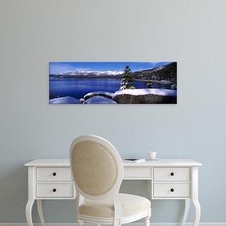Easy Art Prints Panoramic Image 'Lake, Snowcapped mountain range, Sand Harbor, Lake Tahoe, California' Canvas Art