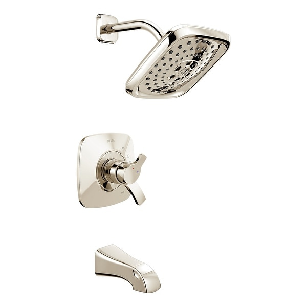 Delta T17452 Tesla Pressure Balanced Tub and Shower Trim with H2Okinetic Shower Head, Volume Control, and Monitor Technology