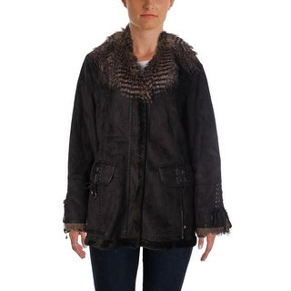 Parkhurst Womens Faux Suede Lace-Up Coat