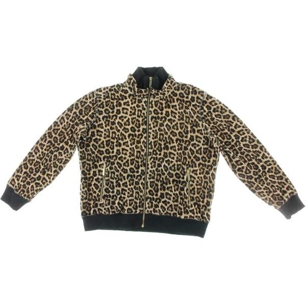 Michael Kors Womens Track Jacket Velour Leopard Print