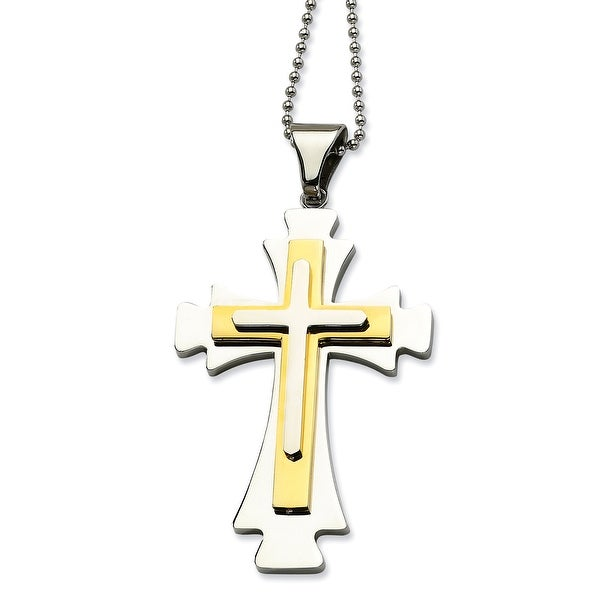 Chisel Stainless Steel Gold Plated Cross Pendant (1 mm) - 22 in