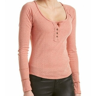 Free People NEW Pink Ribbed Trim Raw Women's Medium M Henley Knit Top