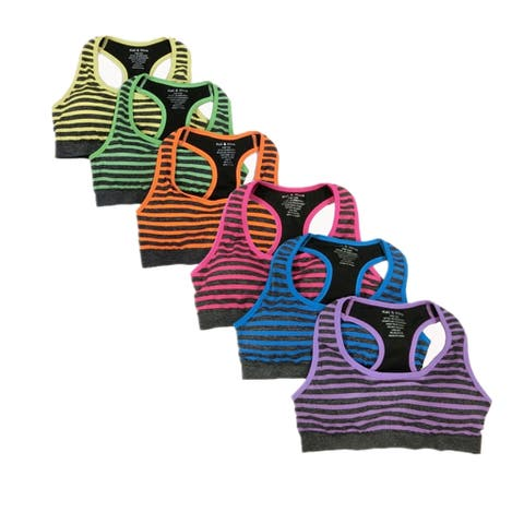 Women's Heather Striped Racer Back Sports Bras (6 Pack) - One Size