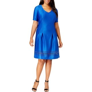 NY Collection Womens Plus Cocktail Dress Neoprene Laser Cut