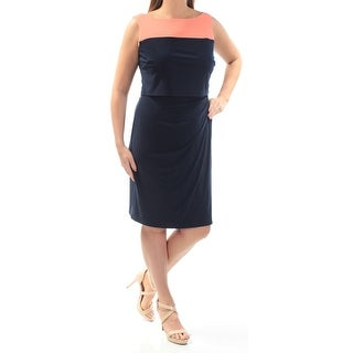 Womens Navy Color Block Above The Knee Sheath Wear To Work Dress Size: 18