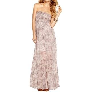 Guess Womens Maxi Dress Silk Strapless