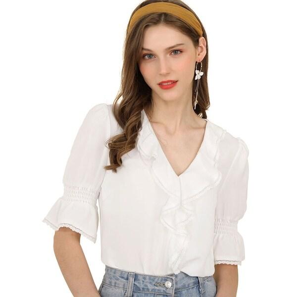 b6816f6b0b7 Unique Bargains Women's Ruffle V Neck Half Bell Sleeve Blouse Summer  Vintage