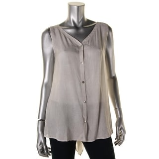 Eileen Fisher Womens Silk Pattern Button-Down Top - L