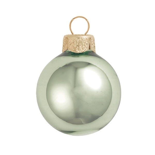 "40ct Shiny Shale Green Glass Ball Christmas Ornaments 1.5"" (40mm)"