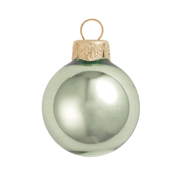 "6ct Shiny Shale Green Glass Ball Christmas Ornaments 4"" (100mm)"