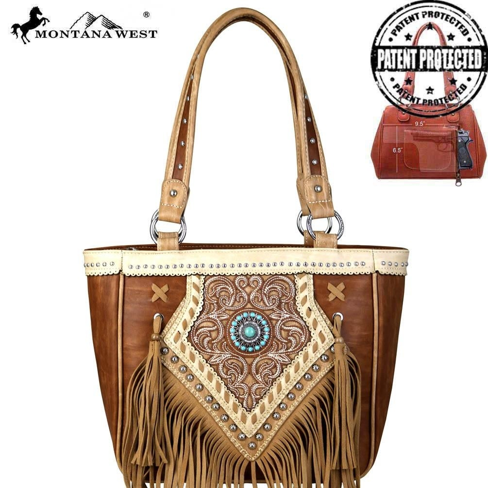 Wallet Montana West Concealed Carry Front Pocket Fringe Tassel Tote Brown
