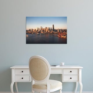 Easy Art Prints Greg Probst's 'aerial view of downtown Seattle' Premium Canvas Art