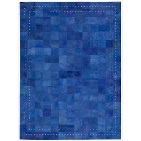 Nourison Vivid Textured Over-dyed Hair on Hide Modern Patchwork Area Rug