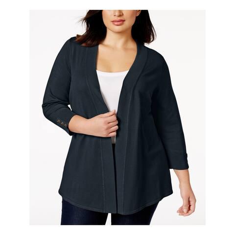 CHARTER CLUB Womens Navy Long Sleeve Open Cardigan Sweater Size 2X
