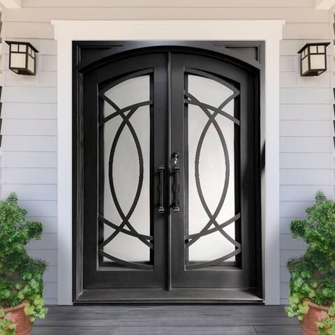 ALEKO Iron Square Top Curvature-Designed Dual Door 72 x 6 x 96 Inches - Matte Black