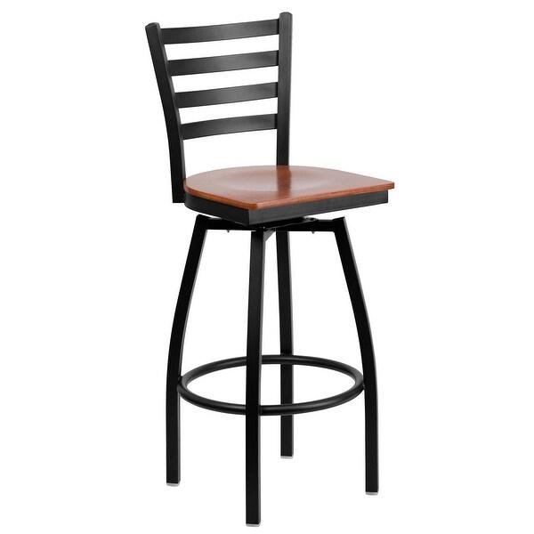 Offex Hercules Series Black Ladder Back Swivel Metal Bar Stool Cherry Wood Seat Of