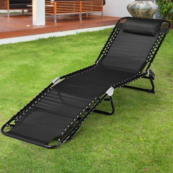 Foldable Lounge Chaise Adjustable Patio Camping Cot w/ Pillow Beach