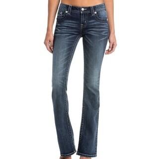 Miss Me Denim Jeans Womens Bootcut Star Pocket Fading Dark Wash