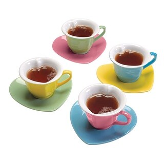 Bandwagon Heart-Shaped Cups & Saucers Set - 8 Piece Set, Pink Blue Green Yellow Valentine's Day Tea Set