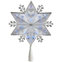 """10"""" Silver 8-Point Snowflake Christmas Tree Topper - Blue Lights"""