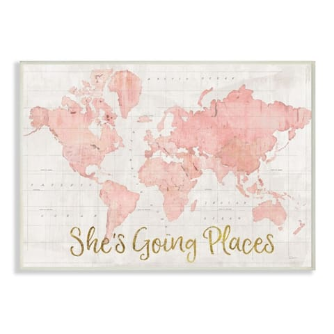Stupell Industries She's Going Places Quote Pink Watercolor World Map Wood Wall Art
