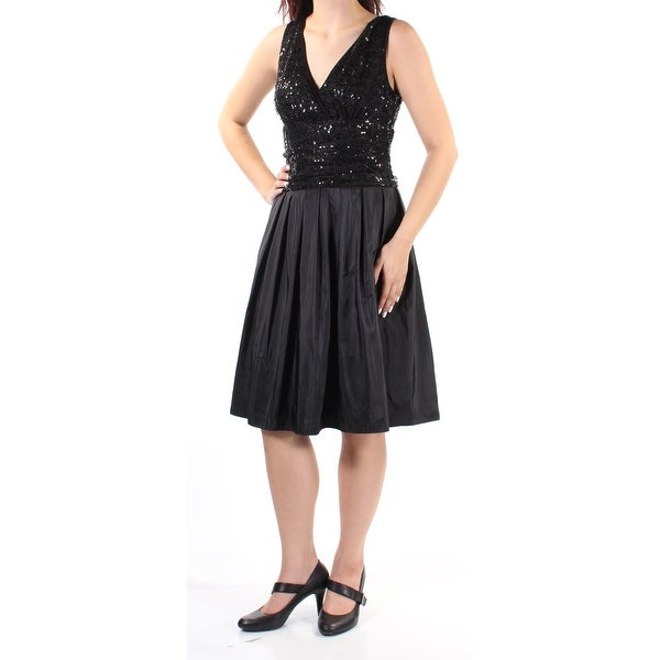 0dc6fd48441 Shop SLNY Womens Black Sequined Pleated Mesh Sleeveless V Neck Knee Length  Fit + Flare Cocktail Dress Size  6 - On Sale - Free Shipping On Orders Over   45 ...