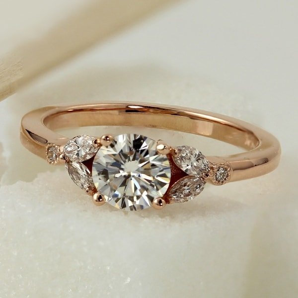 Auriya 14k Gold 1ctw Vintage Floral Moissanite and Diamond Engagement Ring 1/4ctw. Opens flyout.