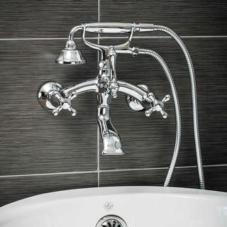 Pelham & White Luxury Tub Filler Faucet, Vintage Design, Wall Mount Installation, Cross Handles, Polished Chrome Finish