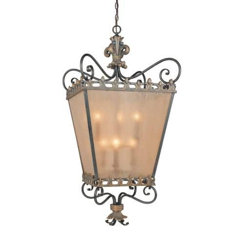 Jeremiah Lighting 10838 Fleur De Lis 6 Light Square Indoor Pendant 29 Inches Wide