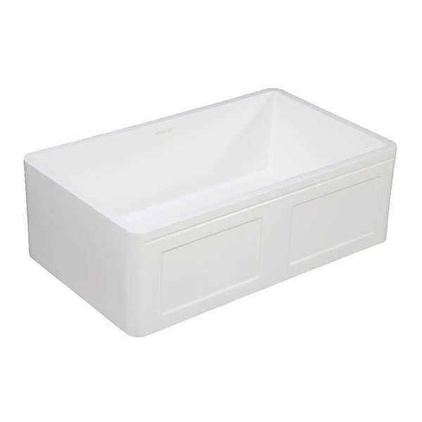 "Kingston Brass GKFA331810DS Arcticstone 33"" Farmhouse Single Basin Stone Composite Kitchen Sink - Matte White"