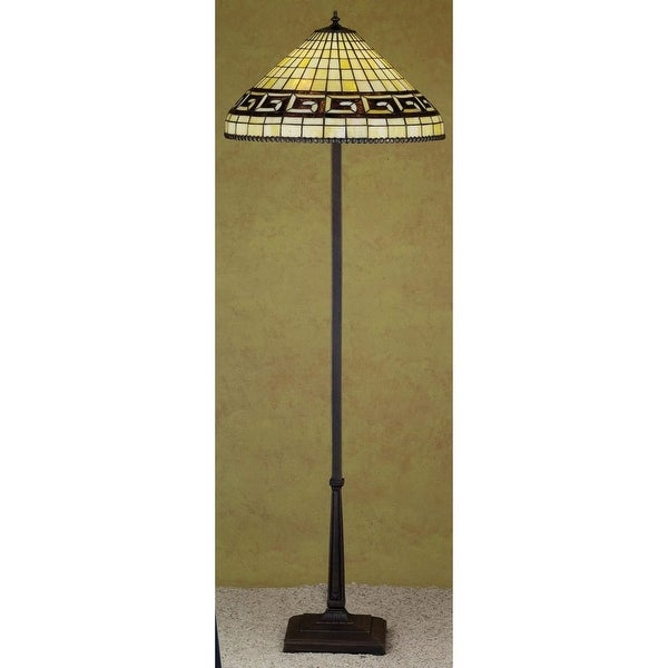Meyda Tiffany 29503 Stained Glass / Tiffany Floor Lamp from the Greek Key Collection - tiffany glass - n/a