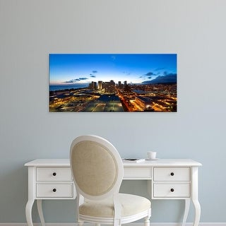Easy Art Prints Panoramic Images's 'Aerial view of a city lit up at dusk, Honolulu, Oahu, Hawaii, USA' Canvas Art