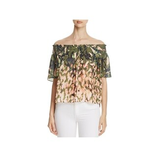 Catherine Malandrino Womens Crop Top Tie-Dye Flounce Sleeves (2 options available)
